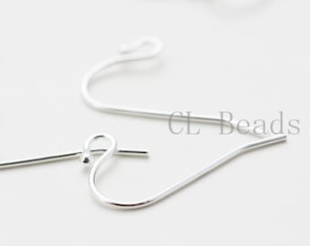 4pcs (2 Pairs) Sterling Silver Earring Hooks- 21x12mm (197)
