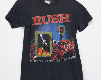 Rush Shirt Vintage tshirt 1981 Moving Pictures Tour concert tee 1980s Neil Peart Geddy Lee Alex Lifeson Heavy Metal Rock N Roll Band