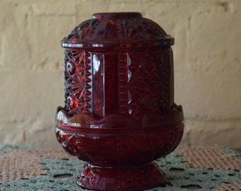 Charming Indiana Glass Red Glass Fairy Lamp Mantle Decor Vintage Wedding Candle