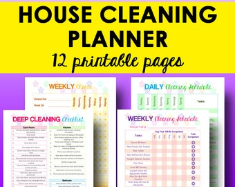 Cleaning Schedule, Cleaning Planner Printable, Home Organizer, Household Planner Printable Cleaning Chart, Letter Size, Instant Download