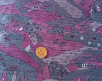 Vintage Japanese silk kimono fabric 92 cm x 36 cm  pink houses and scenery
