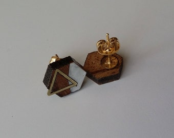 Hexagon Stud Earrings, Triangle Brass Inlay, Lightweight, Gold-plated Posts, One-of-a-kind