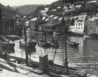 Polperro Harbour, Cornwall 1950s vintage Print B & W photograph Vintage ephemera Fishing village England