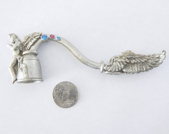 Comstock Pewter Winged Angel Fairy Candle Snuffer With Blue And Pink Crystals - Collectible