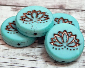 2 or 4pcs - 18mm - Lotus Beads - Glass Focal Bead - Lotus Flower Bead - Czech Glass Beads - Lotus Flower Pendant - (2695)
