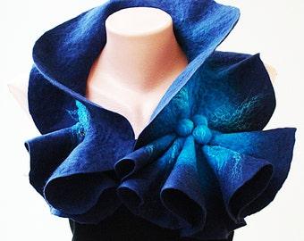 Felted Wool Scarf-Neckpiece-Collar. Dark blue & bright blue shibori scarf.  Large size Organic eco scarf. Winter Accessories. For her.