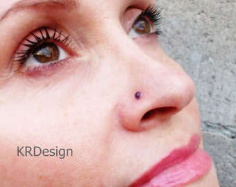 Sterling Silver-14K Gold-Amethyst-Stone-Nose Stud-Tragus-Earrings-Customized / Free US Shipping