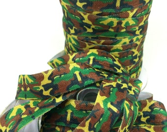 5 yards 5/8 Green camo Fold over elastic, Wholesale elastic for hair ties, Printed foldover elastic for headbands, FOE for hair ties