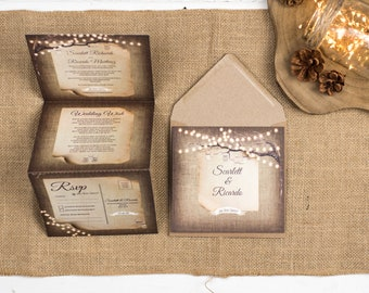 Rustic Wedding Invitation - Double-Folded Rustic Lights (portrait)