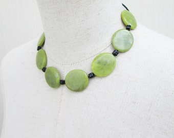 Olive Green Black Chunky Stone  Beaded Necklace