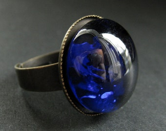 Cobalt Blue Glass Ring in Bronze. Blue Ring. Bronze Adjustable Ring. Handmade Jewelry.