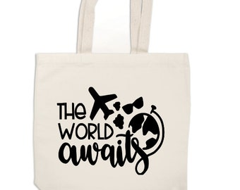 The World Awaits Travel Wanderlust Canvas Tote Bag Market Pouch Grocery Reusable Recycle Eco Friendly