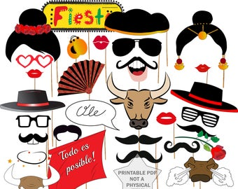 "Spain Photo booth Props: ""FLAMENCO PARTY PROPS"" Spanish Party Props,Fiesta España Props,Spanish Props,Matador Photobooth,Printable props"