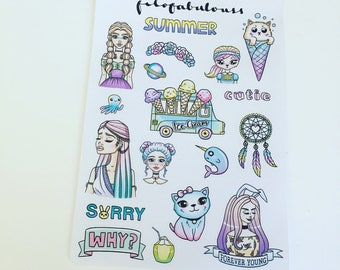 Forever Young Deco Planner Stickers