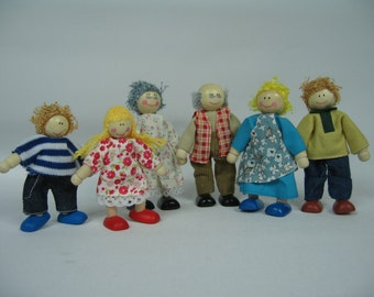 Miniature Wooden Doll house family of 6