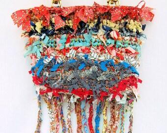 Hand made purse, crochet purse, boho bag, rag purse,  ooak bag, rag bag, shabby chic bag,  boho bag, purse, designer handbag, gift for her