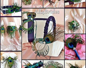 Peacock feathers wedding accessories, basket, pillow, guest book, flutes, cake set, garters, bag, fascinator, candles and more