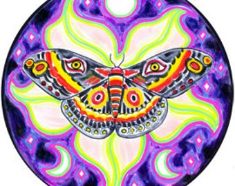Cosmic Circle, Lunar Moth, Datura Moon Flower, Third Eye, Crescent Moon, Witchy Art, EcoFriendly, Non-stick Sticker Art, made in California