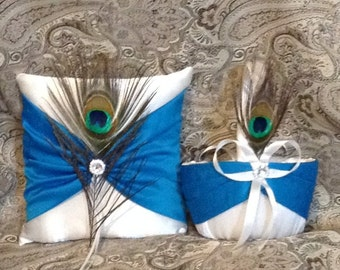 ring pillow and basket custom made ivory or white and turquise blue
