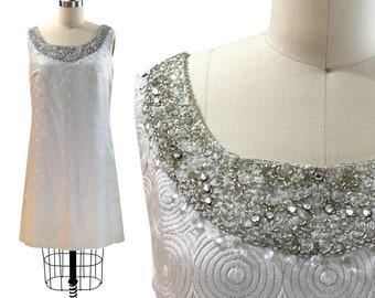 Vintage 1960s Silver Geometric Brocade Shift Dress with Beaded Neckline / Size M / Medium