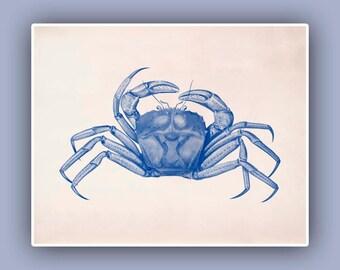Crabe imprimer en bleu, image Vintage, paysage de 10 x 8 imprimer, Marine décoration murale, art nautique, Coastal Living