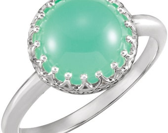 Sterling Silver 10mm Chrysoprase Crown - Cabochon Ring