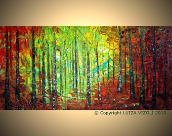 Original Modern Abstract Landscape Trees Autumn Palette Knife Impasto Painting by Luiza Vizoli, 48x24, 52x36, 64x36, 72x36