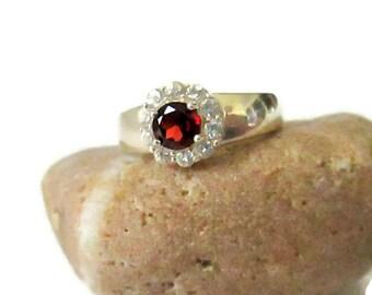 Garnet Ring, January Birthstone, Sterling Silver CZ and Garnet Cluster Gemstone, Sz 7.25, Vintage Ring