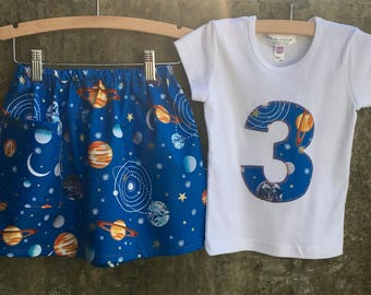 Girls Solar System Skirt and Shirt or Baby Bodysuit - Baby, Toddler, Big Kid Sizes - Fun Space Birthday Gift, Photo Shoot or Party Outfit