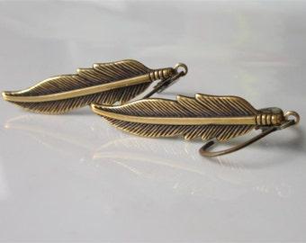 Metal Feather Earrings, Mens Dangle Earrings, Large Sized, Mens Jewelry, Tribal Jewelry, Brass Feather Earrings