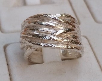 Stackable Silver Ring, Silver Wedding Band, Sterling Silver Wide Ring, Handmade Silver Ring, Statement Ring, Bridal Silver Ring,Mother's Day