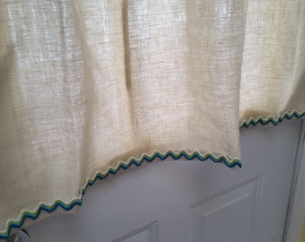 Curtains, Linen Cafe Curtains, Window Curtains, Linen Kitchen Curtains, Lace Cafe Curtains