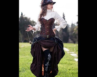 3 pc Steampunk Victorian Brown Corset & Double Bustle, long brown, short black skirts, costume, cosplay goth clothes clothing halloween