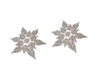 12 iron on glitter flower stars appliques