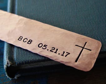 Cross Bookmark, Personalized Monogram Date Bookmark, Religious Gifts, First Communion Gift, Godchild Gift, Personalized, Copper Bookmark