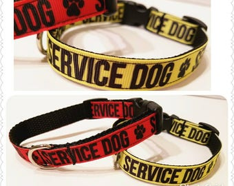 Mini Service Dog Collar, Pet Collar, Leash or Harness in red or yellow