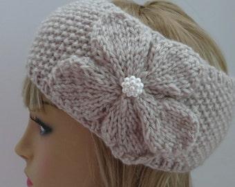 PDF 109  Knitting Pattern PDF Headband Ear Warmer, Earwarmer, Hat, Classy Flower