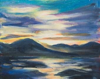 Alaska landscape Original acrylic painting on canvas Alaska painting Sunset at Eagle beach Juneau Mountains painting Alaska art