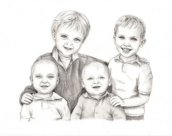 4-5 Persons Custom Pencil Portrait Drawing from Photo - Family Portrait Drawing Graphite Sketch from Photo - gift for mom - Friends Drawing