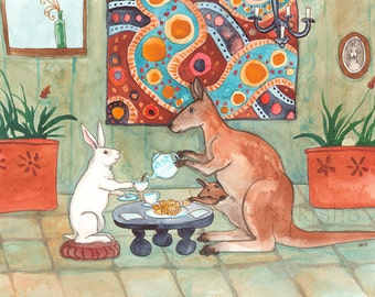 Tea with Kangaroo - Fine Art Rabbit Print