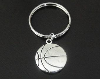 Antique Silver Basketball Key Chain