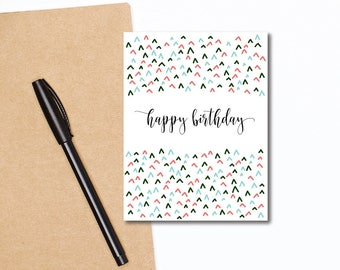 Happy Birthday Greeting Card - A2 Size - Confetti Mountains - Coral, Green, Aqua - Includes White Envelope