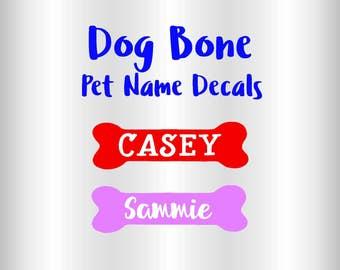 Personalized Dog Bone Name Decal, Dog Food Bowl Decal, Dog Bone Decal, Car Decal, Custom Vinyl Decal, Pet Name Decal