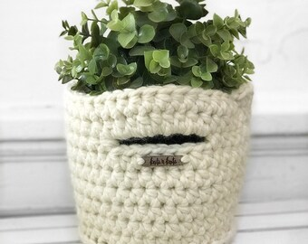 Mini Basket with Handles in Ivory