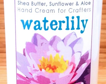 Scented Shea Butter Hand Lotion - Waterlily Floral Spa Fragrance - Hand Cream for Knitters Happy Hands Knitting