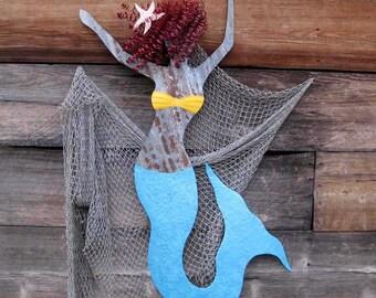 Large Metal Wall Art Mermaid Sculpture Dancing Redhead Mermaid Recycled Metal Wall Art Beach Coastal Decor Turquoise Blue  48 x24