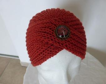 Vintage turban Hat rust 100% Merino Wool French brooch
