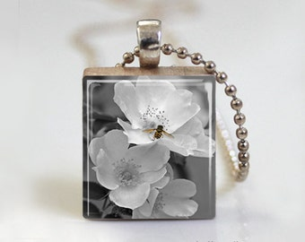 White Flower Photography Art Print - Scrabble Tile Pendant - Free Ball Chain Necklace or Key Ring