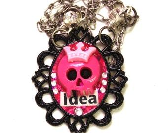 Kawaii Skull Cameo Necklace - Pink Skull Pendant - Resin Necklace - Mixed Media - Pink Glitter - Rhinestone Cameo - Pink and Black - Idea