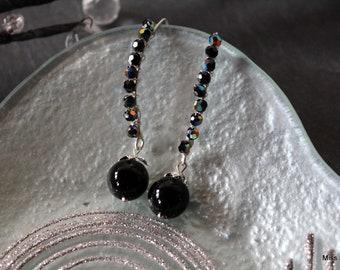 Large bluish black elements Swarovski crystal earrings